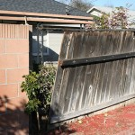The wooden fence that blew over